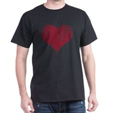 Red heart with fingerprint pattern T-Shirt