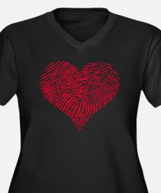 Red heart wi Women's Plus Size Dark V-Neck T-Shirt