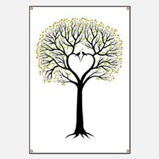 Love tree with heart branches, birds and he Banner