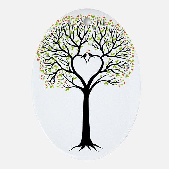 Love tree with heart branches, birds Oval Ornament