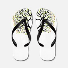 Love tree with heart branches, birds an Flip Flops