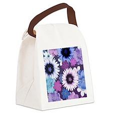 Pretty Floral Design - Blue Pink  Canvas Lunch Bag