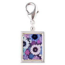 Pretty Floral Design - Blue  Silver Portrait Charm