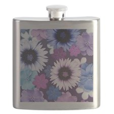 Pretty Floral Design - Blue Pink and Purple Flask