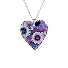 Pretty Floral Design - Blue P Necklace