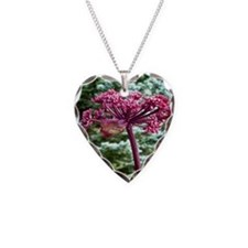 Purple Angelica Necklace Heart Charm