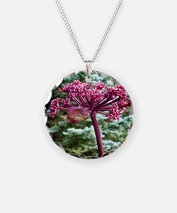 Purple Angelica Necklace Circle Charm