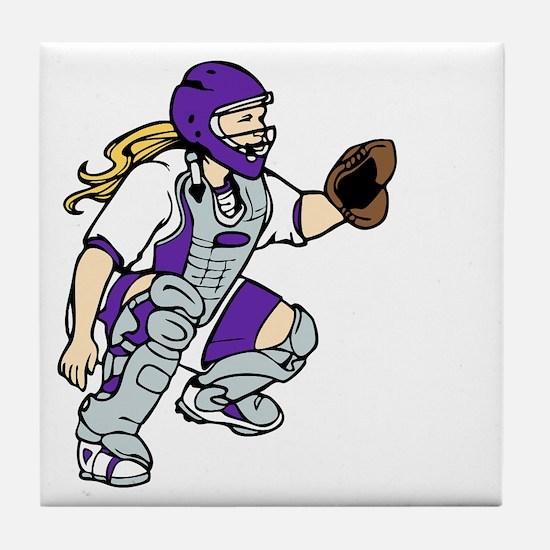 Purple2 No Place Like Home on Black Tile Coaster