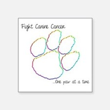 "Canine Cancer Paw Square Sticker 3"" x 3"""