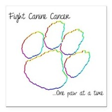 "Canine Cancer Paw Square Car Magnet 3"" x 3"""