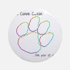 Canine Cancer Paw Round Ornament