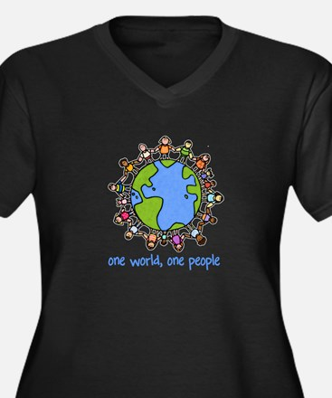 one world,one people Women's Plus Size V-Neck Dark