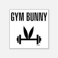 "Gym Bunny Square Sticker 3"" x 3"""