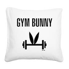 Gym Bunny Square Canvas Pillow