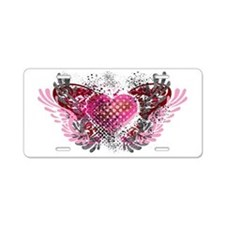 Valentine Heart Wings Aluminum License Plate