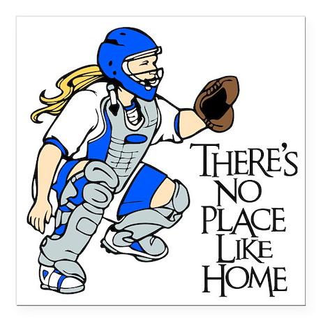 "blue No Place Like Home Square Car Magnet 3"" x 3"""