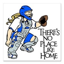 "blue No Place Like Home Square Car Magnet 3"" x 3"""