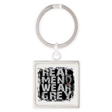 D Diabetes Real Men Wear Grey Square Keychain