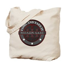 Molon Labe (Red/Grey) Tote Bag