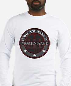 Molon Labe (Red/Grey) Long Sleeve T-Shirt