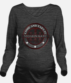 Molon Labe (Red/Grey Long Sleeve Maternity T-Shirt