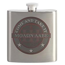 Molon Labe (Red/Grey) Flask