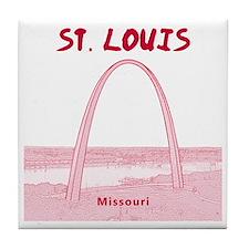 StLouis_12x12_GatewayArch_red Tile Coaster
