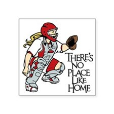 "red No Place Like Home Square Sticker 3"" x 3"""
