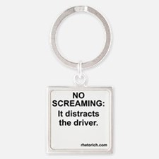 No Screaming Square Keychain