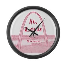 StLouis_10x10_GatewayArch_v2Red Large Wall Clock