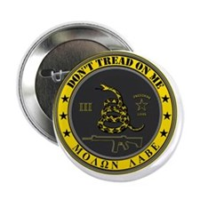 """Dont Tread On Me (Yellow/Grey) 2.25"""" Button"""
