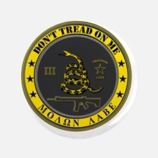 """Dont Tread On Me (Yellow/Grey) 3.5"""" Button"""