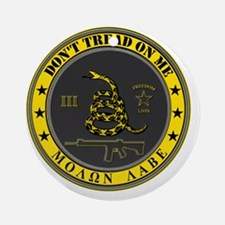 Dont Tread On Me (Yellow/Grey) Round Ornament