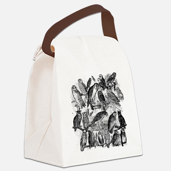 Vintage Owls Canvas Lunch Bag