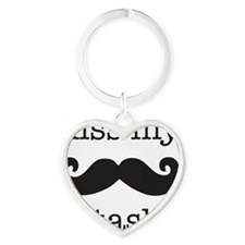 kiss my stash, moustashe Heart Keychain