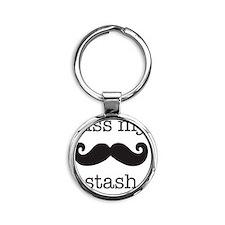 kiss my stash, moustashe Round Keychain