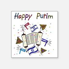 "Happy Purim Square Sticker 3"" x 3"""