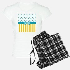 Yellow Stripes Blue Ribbon Pajamas