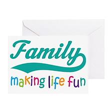 Colorful Family Making Life Fun Greeting Card