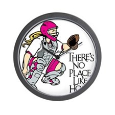 pink No Place Like Home Wall Clock