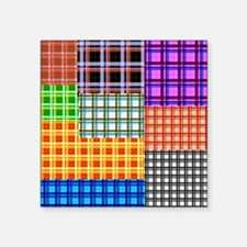 "Patchwork 2 tartan Square Sticker 3"" x 3"""