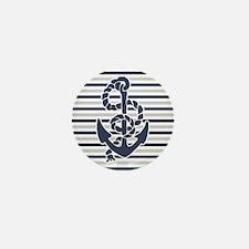 Navy Blue Grey Anchor Stripes Pattern Mini Button