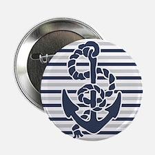 "Navy Blue Grey Anchor Stripes Pattern 2.25"" Button"