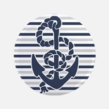 "Navy Blue Grey Anchor Stripes Pattern 3.5"" Button"