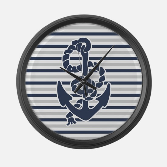 Navy Blue Grey Anchor Stripes Pattern Large Wall C