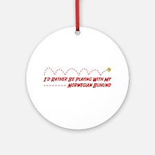 Buhund Play Ornament (Round)