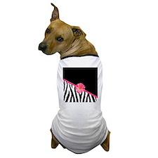 Zebra Pattern Pink Daisy Dog T-Shirt