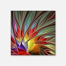 "Fractal Bird of Paradise Square Sticker 3"" x 3"""