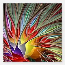 "Fractal Bird of Paradise Square Car Magnet 3"" x 3"""