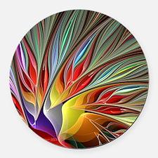 Fractal Bird of Paradise Round Car Magnet